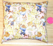 New Disney Beauty and the Beast - Cotton Fabric Pillow - Handmade in the U.S.A.