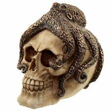 NEW Skull & Octopus Bronze Resin Ornament .Horror/Fantasy/Gothic.15.5x12x14cm.