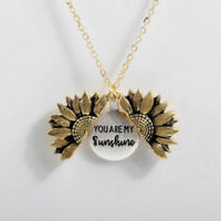 You Are My Sunshine Open Locket Sunflower Pendant Necklace R0