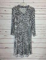 Cabi Women's S Small Gray Black White Animal Print Knit Cute Spring Shirt Dress