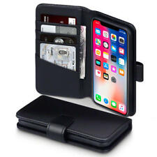 Luxury Real Leather Stand Credit Card Wallet Case for Apple iPhone X (10) Black