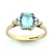 Ladies/womens, 9ct/9carat gold ring set with a topaz and diamonds, UK size L 1/2