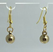 Medium Gold Acrylic Bead Drop Earrings, Simple Prom Gold Coloured Hooks D391