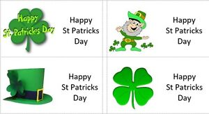 40 x Happy St Patricks Day labels/stickers cakes/sweets/gift bags/presents