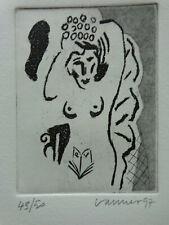 JAN VANRIET (°1948) / NAAKTE VROUW / EX-LIBRIS / ZW-W ETS / 16x13cm SIG ZELDZAAM