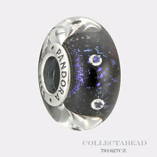 Authentic Pandora Silver Murano Midnight Effervescence CZ Bead 791627CZ