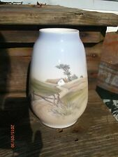 "Royal Copenhagen Vase 2776 1224 Farm Scene 7.5"" RC Denmark First Landscape"