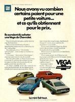 1972 CHEVROELT VEGA AUTOMOBILE ORIGINAL AD IN FRENCH