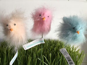 Easter Fluffy Feathered Chick Picks,  Pink, Blue, Cream, Floral. Decor, Craft