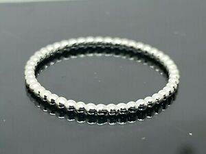 14k White Gold Ring Solid Beaded Thin 1.3mm Eternity Band Women's Jewelry SZ 8