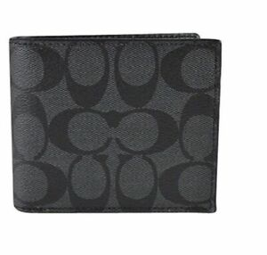 Coach Double Billfold Wallet In Signature Canvas - Charcoal/Black F75083  Nwt