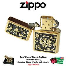 Zippo Gold Floral Flourish Emblem Lighter, Brushed Brass, Genuine USA #20903