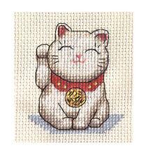 Lucky japonés Gato, Full puntada cruzada contada Kit, Maneki Neko