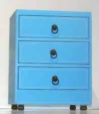 Moroccan Leather 3-Drawer Dresser in Sky Blue