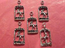 Tibetan silver carousel horse charms pack de 5