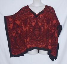 SIZE 22/24 - AVENUE - CAFTAN TOP – BLACK & RED PAISLEY - BEADED TRIM – NEW $44