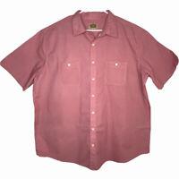 The Foundry Supply Mens Red Blue Polka Dot Short Sleeve Button Up Shirt Sz 2XLT