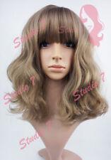 W153 Dark Blonde Mid Length Wavy Straight Fringe Sythetic Wig - studio7-uk