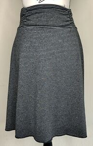 Tranquility Black Grey Striped A-Line Athletic Stretch Skirt Small Tennis Golf