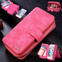 For iPhone XS 7 8 Plus Case Leather Zip Magnetic Wallet Purse Flip Cover Handbag