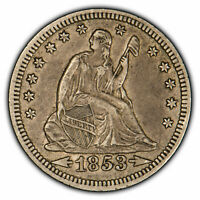 1853 A&R 25c Seated Liberty Quarter - High-Grade Coin - Some Luster - SKU-X1145