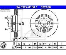 2 St. ATE 24.0322-0160.1 Bremsscheibe Power Disc   für BMW 3er 3er Touring Z4