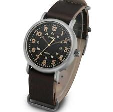 TIMEX TW2P85800 Oversized Weekender Leather Watch 40mm Vintage Indiglo Quartz