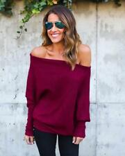 Sexy Womens Casual Off Shoulder Knitted Cardigan Jumper Oversize Tops Sweater