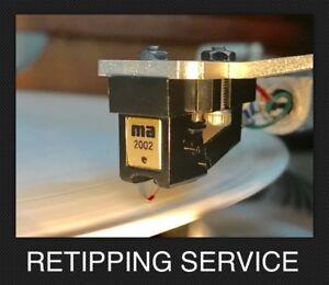Micro-Acoustics Cartridge Retipping New .3 x .7 Elliptical Tip 2002e QDC-1e 3002