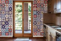 Saigon Red & Blue Mix Mosaic Wall Tile Stickers Decorations 48pcs 15cm x 15cm