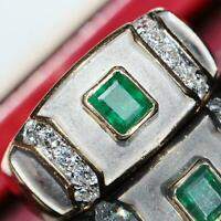 18k 750 multi tone gold 1.75ct emerald FVVS2 diamond size 11.5 ring 9.8gr C-47
