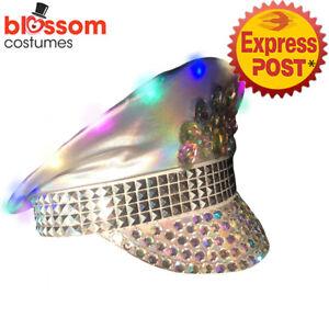 AS260 Light Up Burning Man Sequins Gemstone Festival Costume Hat Mardi Gras