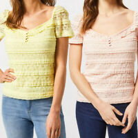 Ex Dorothy Perkins Button Front Neck Stretch Lace Top Yellow Pink Size 6 - 22