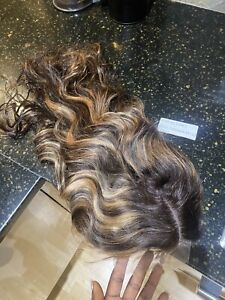 Luxury Highlights Honey Brown Blonde Lace Wig 100% Soft Human Real Hair Bodywave