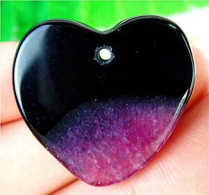 26x25x5mm Black&Purple Druzy Geode Agate Love Heart Pendant Bead BV59583
