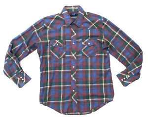 Vip Vintage Mens Pearl Snap Button Up Plaid Shirt Size Medium