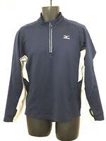 Mizuno Men's Navy Blue 1/4 Zip Pullover w Reflective Logo & Detailing. Size S.