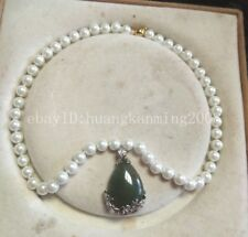"""8mm White South Sea Pearl +Green Jade Silver Plated pendant Necklace 18"""""""
