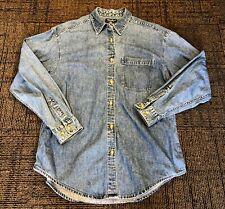 Womens Eddie Bauer Denim Single Pocket Blue Jean Trucker Button Down Shirt M