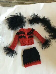 "Misc.DOLL Clothes fit 16"" Vinyl Dolls Red & Black Knit SKIRT, TOP, HAT & BOA Set"