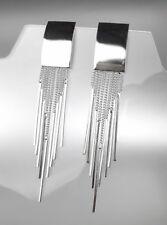 UNIQUE Artisanal Urban Silver Rectangle Fringe Dangles Earrings