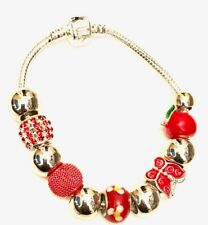Silver Beads for Woman 21cm Silver Beaded Bracelet With Red &