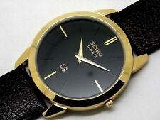 seiko quartz super slim men black dial japan made watch run order