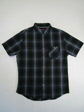 Tony Hawk Mens M Gray Blue Plaid Checkered Short Sleeve Button Up Shirt Skater