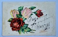 Antique Postcard Rose Posted Post Card Calligraphy Greeting Floral Friend Barry