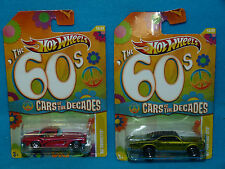 HotWheels CARS OF THE DECADES 60S 62 CORVETTE 67 PONTIAC GTO NEW