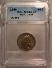 1940 PORTUGAL 10 CENTAVOS ICG MS64BN KM#573 COPPER COIN  PORTUGUESA