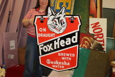 """Large Fox Head Beer On Draught Gas Oil 2 Sided 38"""" Porcelain Metal Sign"""
