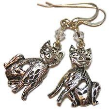 Reclaimed Treasures--Sterling Silver Cat & Swarovsky Bead Earrings By SoniaMcD