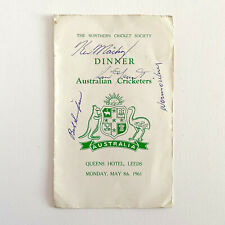Autographed Northern Cricket Society Dinner to Ashes Australian Cricketers 1961